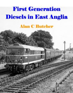 """Cover of the photo book """"First Generation Diesels in East Anglia"""", picturing an oncoming diesel train and merging train tracks. Image in black and white."""